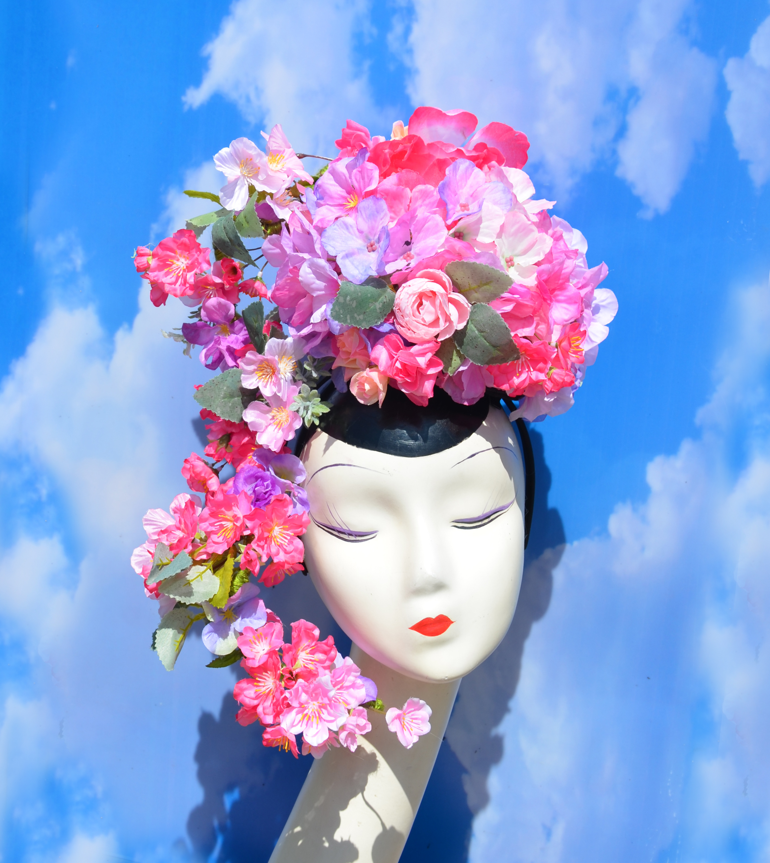 Convertible Pink Floral Headpiece (1)