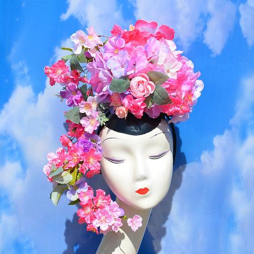 Custom Convertible Pink Floral Fascinator Hat