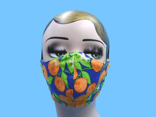Orange Fruit on Blue Face Mask w/ Filter Pocket