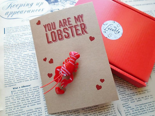 You Are My Lobster - Mini Lobster Brooch with Card by Luxulite