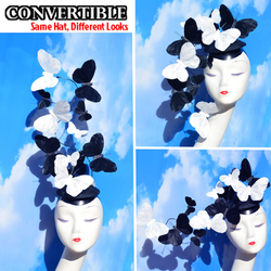 Black and White Feather Butetrfly Effie + Fascinator Hat