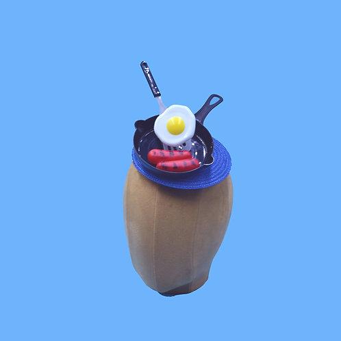 Surreal Breakfast Skillet Fascinator Hat with Eggs & Sausage Links