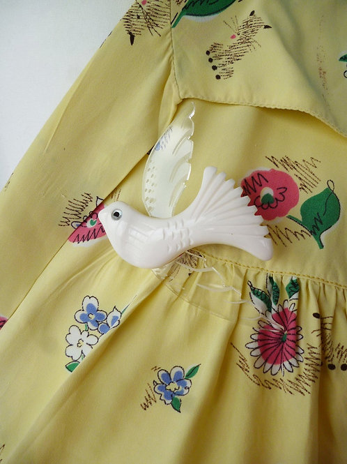 I'll Fly Away - White Vintage Inspired Bird Surreal Dove Brooch by Luxulite
