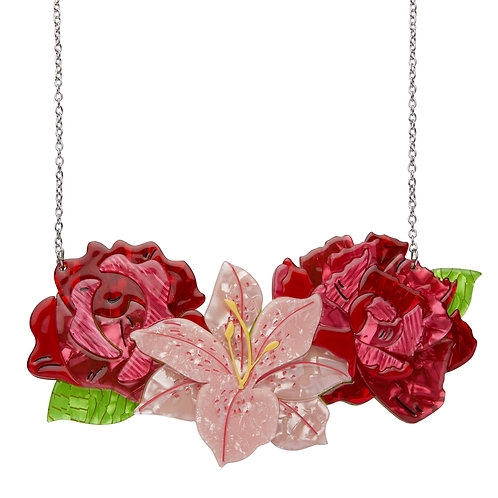 Tickled Pink Necklace by Erstwilder (Large) | Red Roses & Pink Lily | Floral