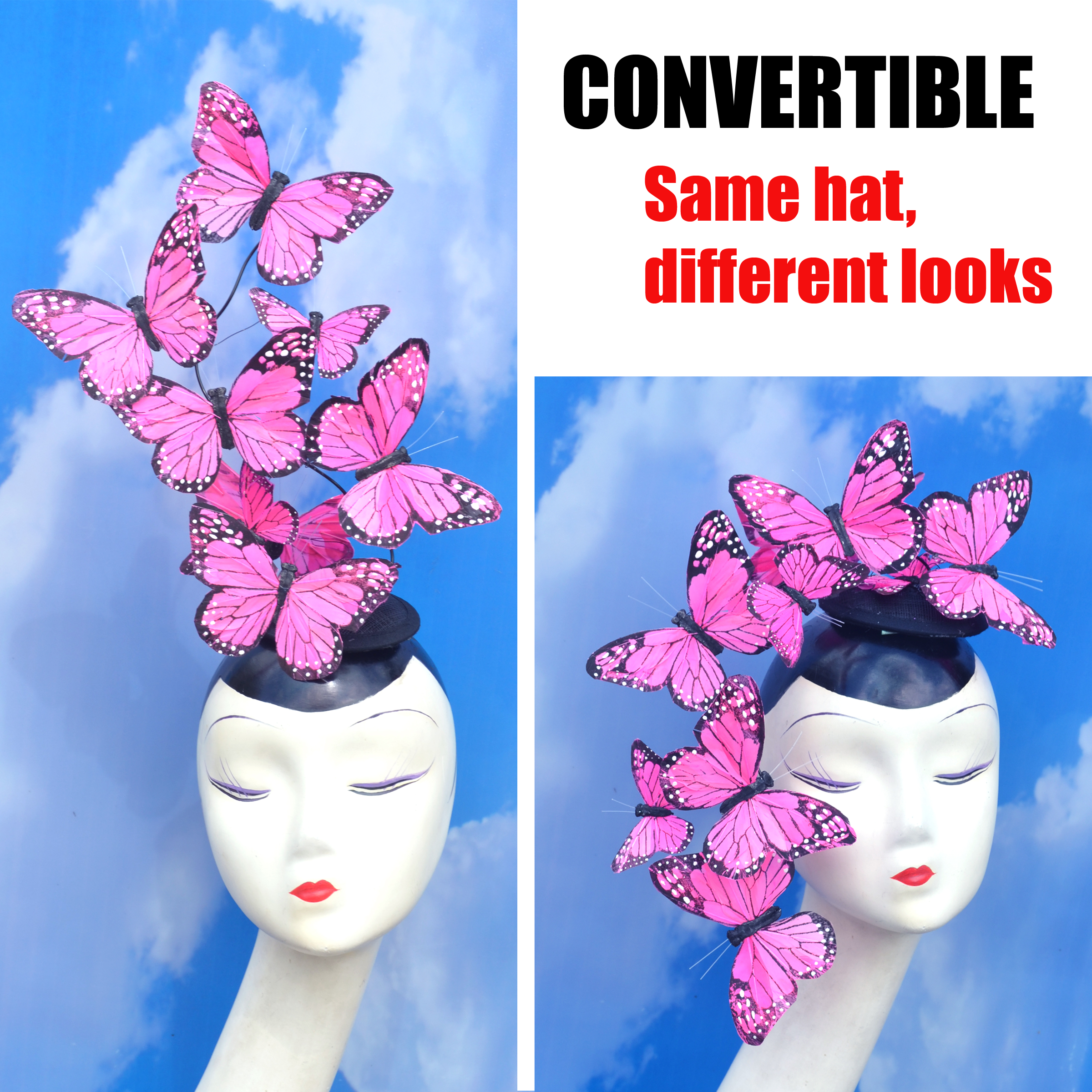 Pink Effie Butterfly Feather Fascinator Hat