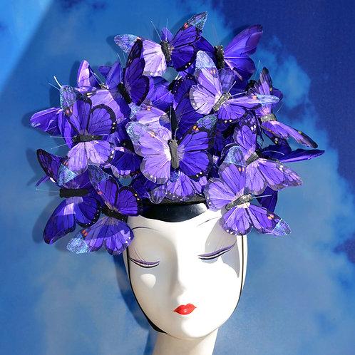 Dark Purple Feather Butterfly Fascinator Hat