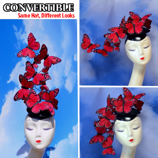 Red Butterfly Feather Fascinator Hat