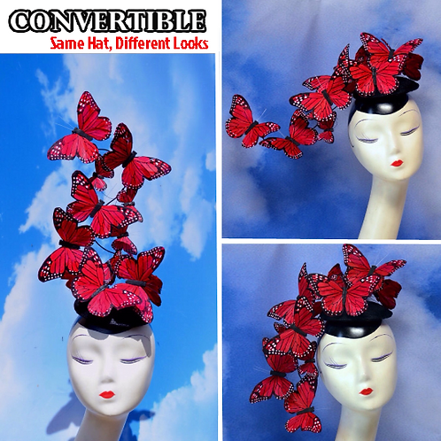 Red Effie PLUS+ Feather Butterfly Fascinator Headpiece