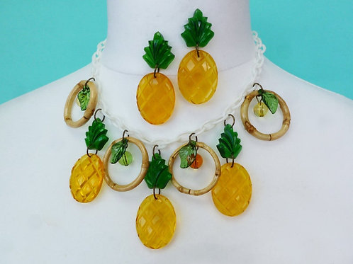 Juicy Pineapple Necklace! by Luxulite - Tiki Pinup Inspired