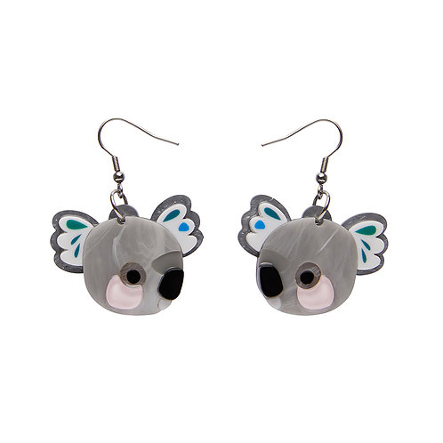 The Kuddly Koala Earrings by Erstwilder | Gray Grey Koala Drop Bear