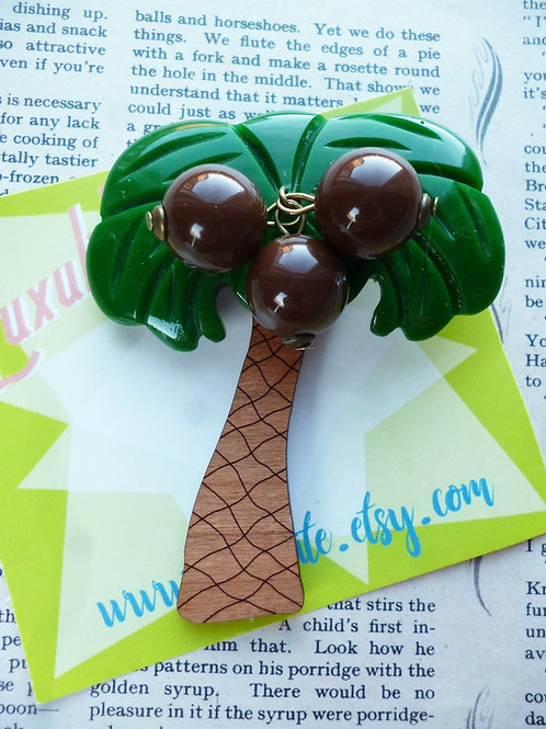 Coconut Grove Brooch - Tropical Palm Tree