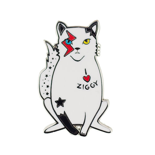 Rebel, Rebel Enamel Pin by Erstwilder | Bowie Rock Cat