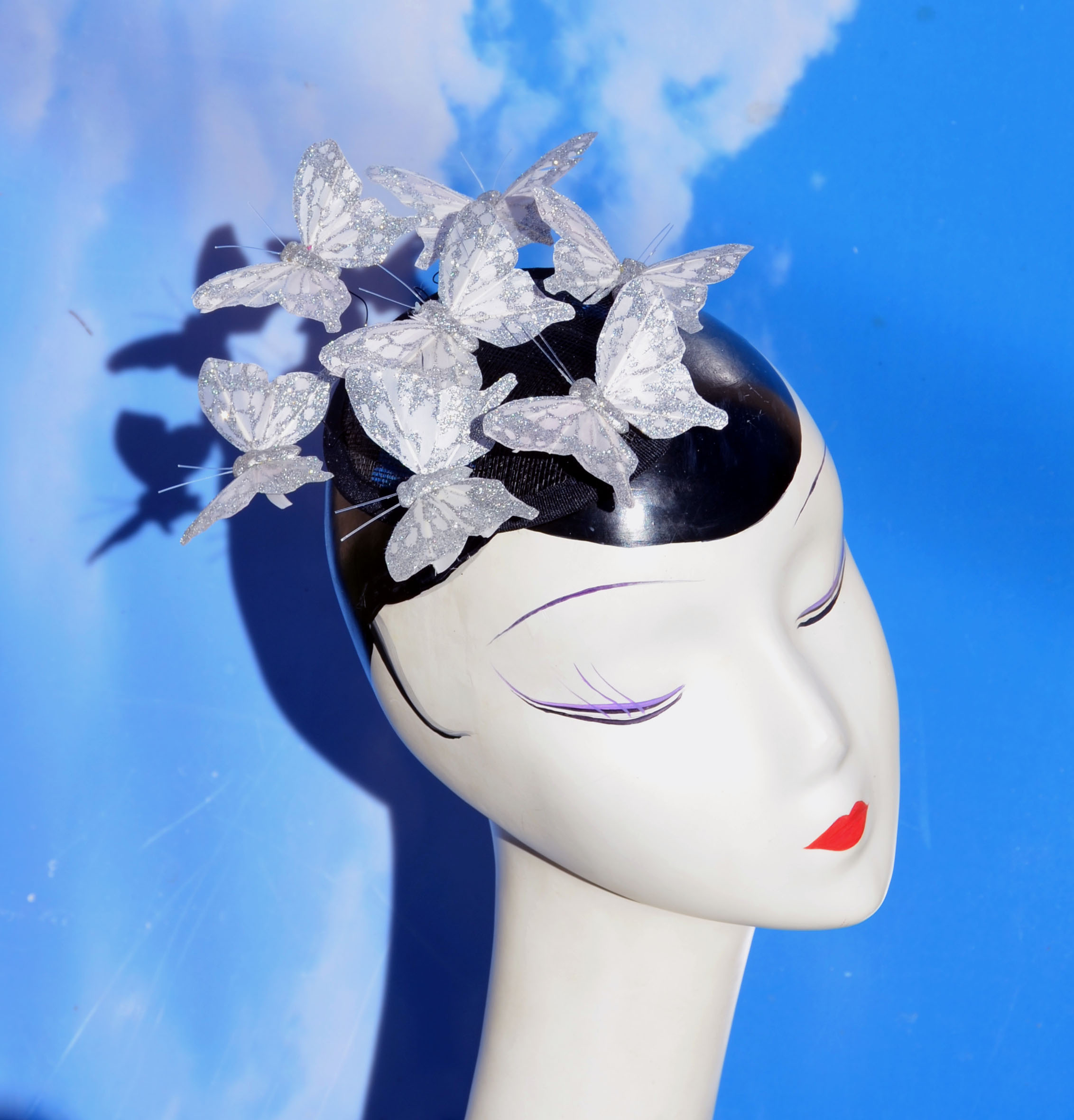 White Glitter Butterfly Fascinator