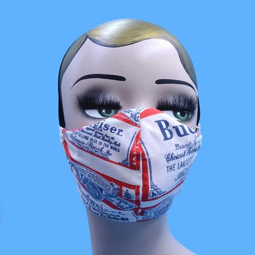 Vintage Budweiser Beer Face Mask w/ Filter Pocket