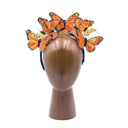 Orange Butterfly Fascinator Headband