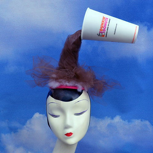 Spilled Coffee Dunkin Donuts or Starbucks Surrealist Costume Headpiece
