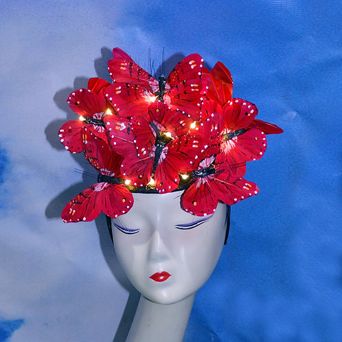 The Beatrice - Light Up Red Butterfly Headpiece Hat