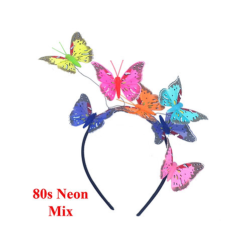 80s Neon Color Mix Green Pink Orange Teal Blue Butterfly Fascinator Headband