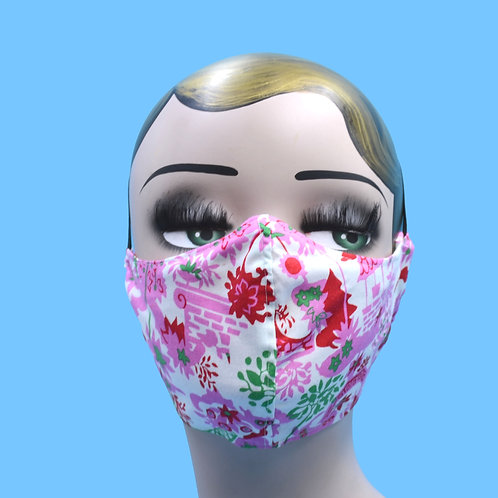 Retro Pink Garden Face Mask w/ Filter Pocket