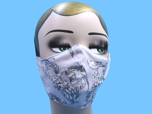 Lavender Rococo Floral Bird Face Mask w/ Filter Pocket