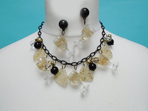 Black or Pink Champagne Celebration! - Mid Century Necklace & Matching Earrings
