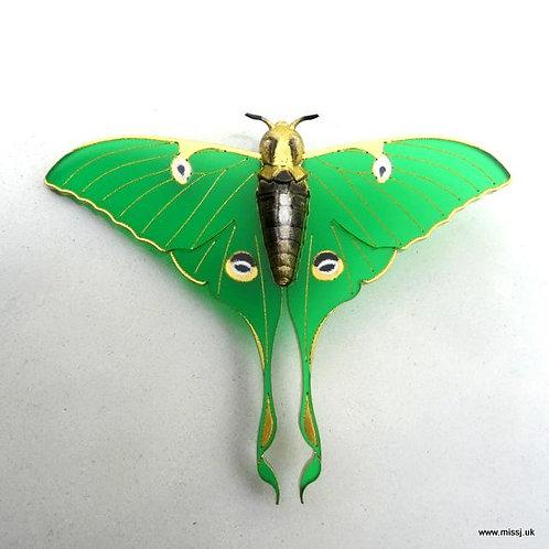 Luna Moth Jade Green Brooch by MissJ Designs | Butterfly