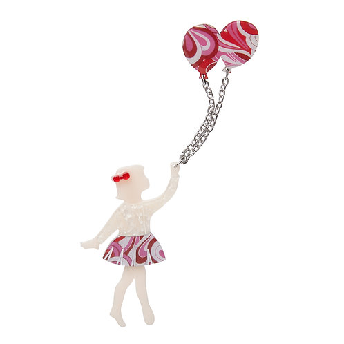 Bev And The Flying Balloon Brooch by Erstwilder | Girl Jumping Rope