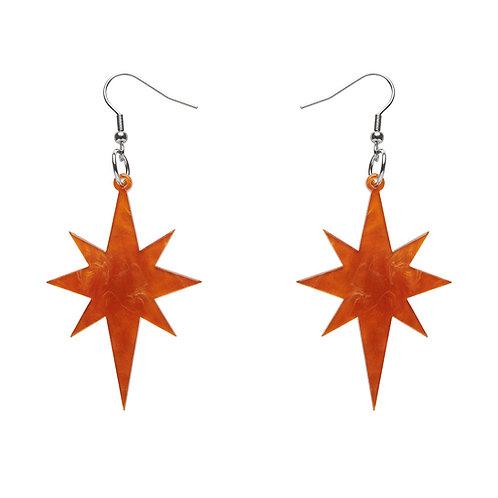 Starburst Ripple Glitter Resin Drop Earrings - ORANGE