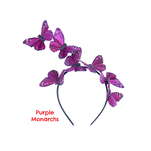 Purple Butterfly Fascinator Headbands