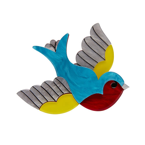 Betty Jo Sparrow Brooch by Erstwilder | Blue, Yellow, Red Bird