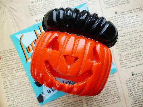 Happy Pumpkin Bangle Set! Vintage-inspired  2 Part Jack O Lantern Bracelet Set