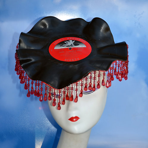 Made to Order Rockabilly Vinyl Music Record LP Hat with Beaded Fringe