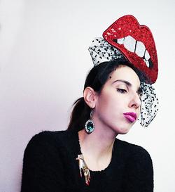 Sequin Red Lips Fascinator