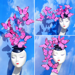 Pink Butterfly Effie+ Feather Fascinator
