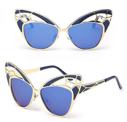 Navy Blue Butterfly Sunglasses Side View