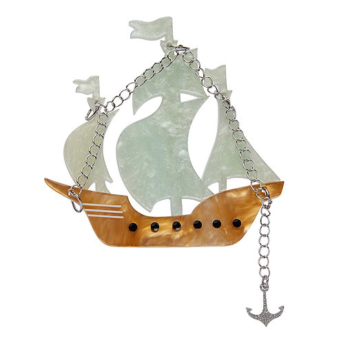 Meeting the Merfolk Brooch by Erstwilder | Brown and White Pirate Ship