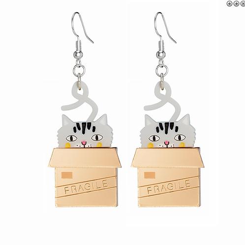 CAT IN BOX EARRINGS by Little Moose