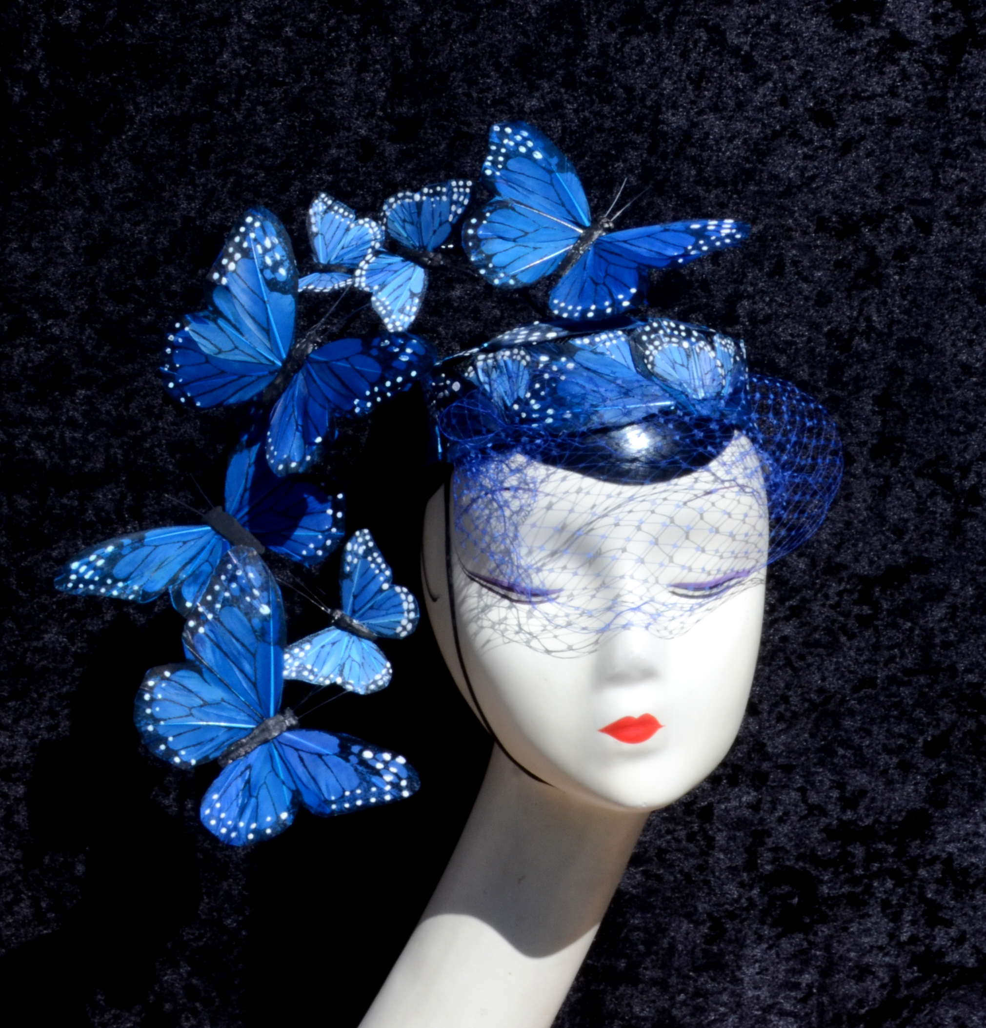 Blue Dramatic Veiled Pillbox Hat