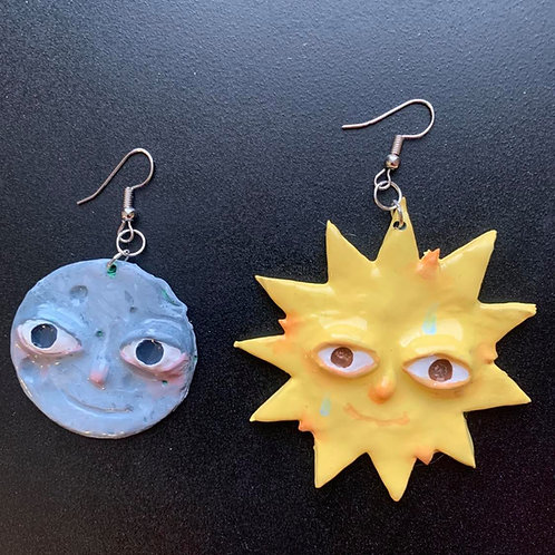 Sun & Moon Earrings by Faerie Dust Crafts| Handpainted Clay Jewel