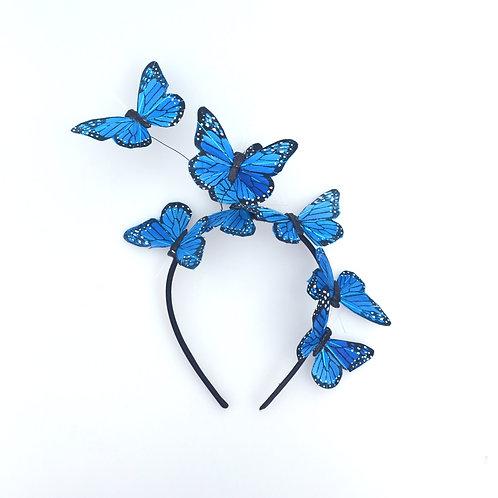 Blue Feather Butterfly Fascinator Headband