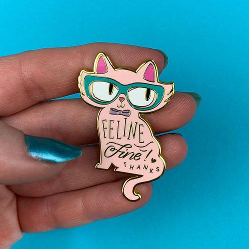 Pale Pink Feline Fine Enamel Pin by Erstwilder   Cat