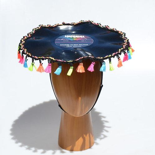 Rainbow Rockabilly Vinyl Music Record LP Hat with Tassel Fringe