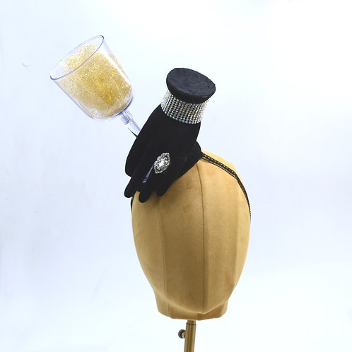 Surreal Black Hand Hat Holding Wine, Champagne, or Martini Glass