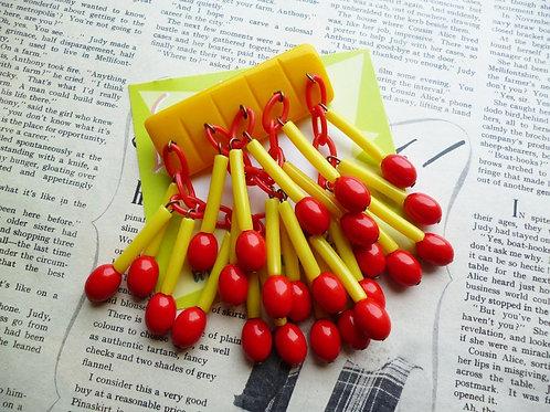 Match Maker - Novelty Yellow Matchstick Jangle Brooch