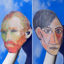 Vincent Van Gogh or Pablo Picasso Cubist Surreal Masquerade Face Mask Costume