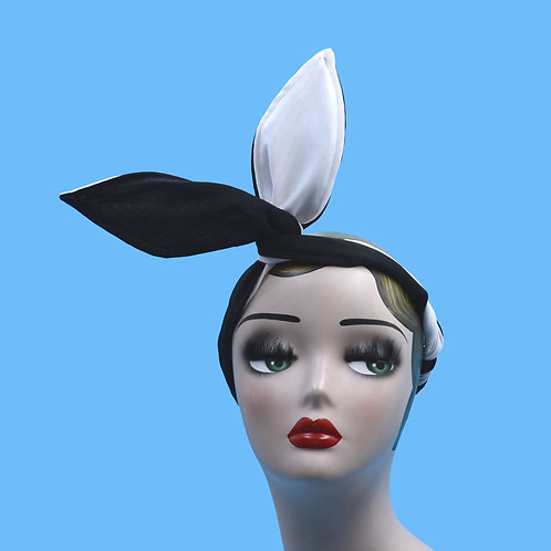 Black and White Bunny Ear Wired Rockabilly Headband Turban - Usamimi