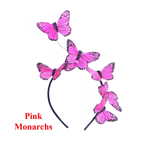 Pink Feather Butterfly Fascinator Headband