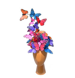 The Madame Butterfly PLUS+ Mixed Color Rainbow Feather Butterfly Swarm Fascinator Hat Hatinator  (3)