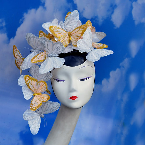The Madame Butterfly - Gold & Silver White Butterfly Fascinator Hat Hatinator