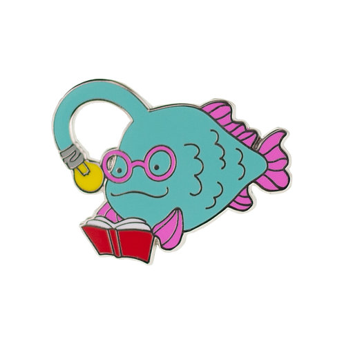 Bright-Eyed Bibliophile Enamel Pin by Erstwilder | Green Anglerfish
